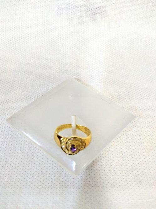 Anel em Ouro 18k com  Pedra Ametista e Brilhantes