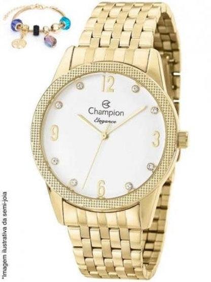 Kit Relógio Feminino Champion Dourado + Pulseira com Berloques