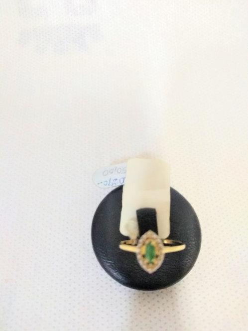Anel em Ouro 18 com Zirconea Verde