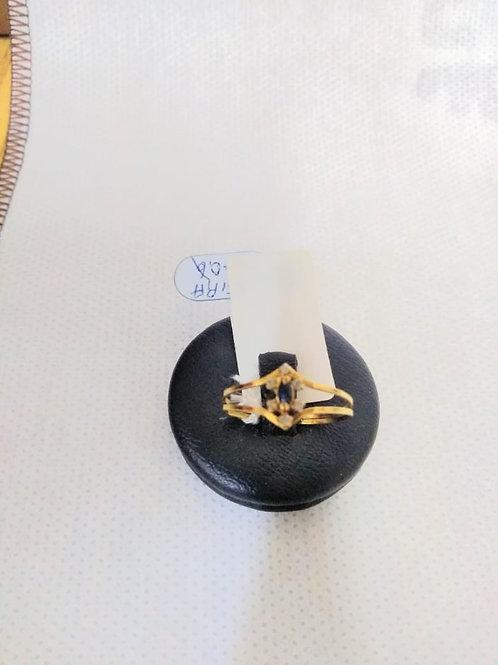 Anel em Ouro 18k com Safira Azul e Brilhante