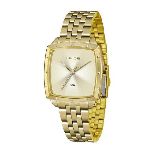 Relógio LINCE  Dourado com fundo claro e detalhe com pedra