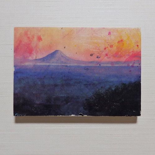 「夕暮れの高台」木製パネル転写画