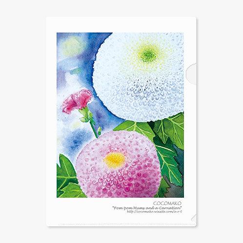 """""""Pom-pom Mums and a Carnation"""" A4 Folder"""