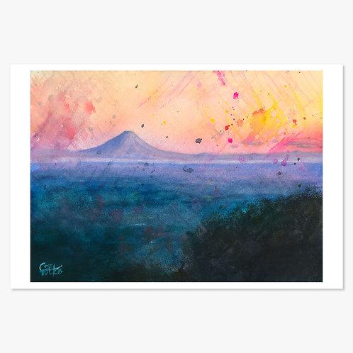 「夕暮れの高台」ポストカード