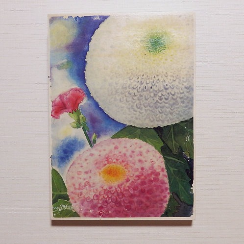 """""""Pom-pom Mums and a Carnation"""" The Wooden Transfer"""