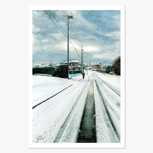 """A Snowy Road"" Post Card"