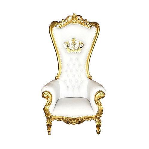 Throne Chair- Gold & White