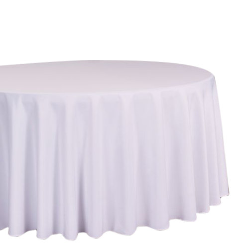 """White- 120"""" Polyester Tablecloths"""