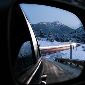 Snowy Mountain Light Trails