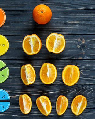 Сolorful math fractions and oranges as a