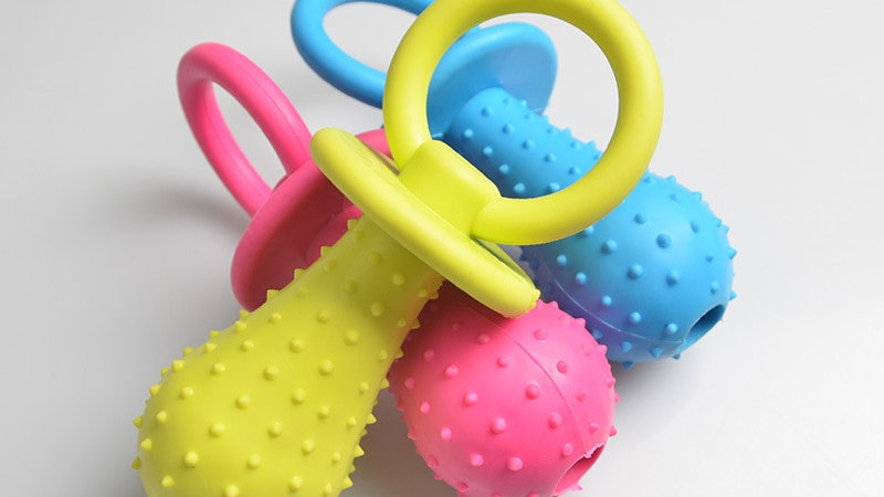 1Pc Rubber Nipple Dog Toys for Teething Train