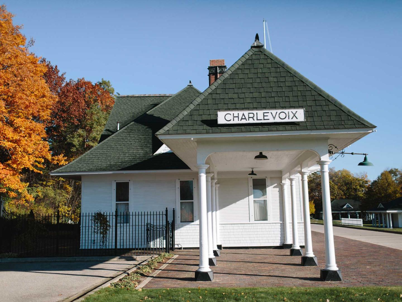 Charlevoix Train Depot in Fall