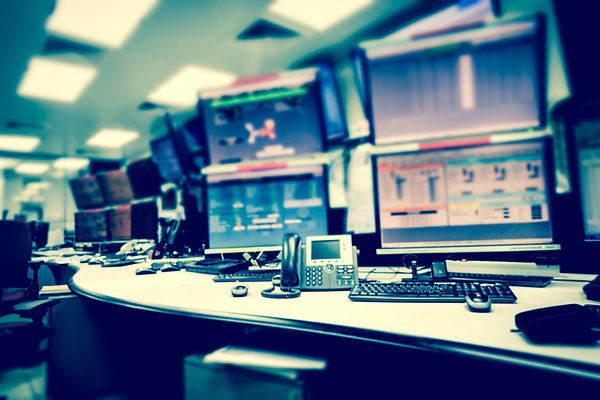 Plant control room and computer monitors