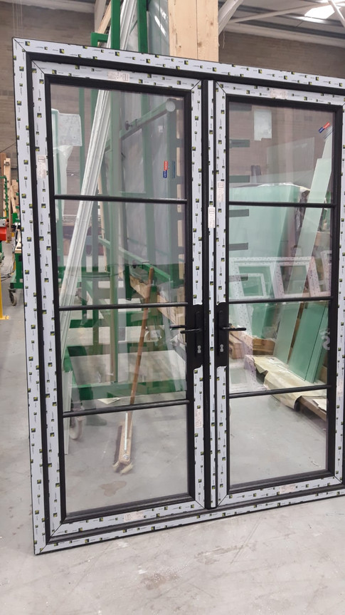 Black French doors with georgian bar made in our factory