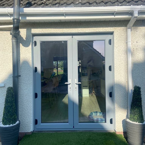 EarthKind french doors, colour silver grey installed in Drogheda