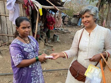 Mini distributes free Vitamin tablets to villagers in Alibaug