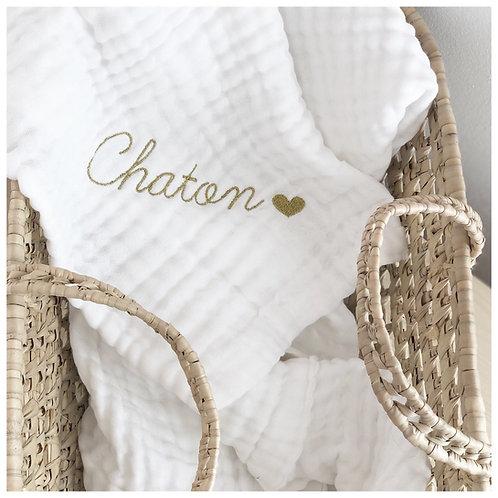 Plaid en gaze de coton Blanc - Brodé à personnaliser