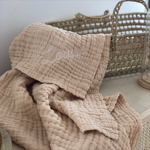 Le plaid en gaze de coton Sable - Brodé à personnaliser