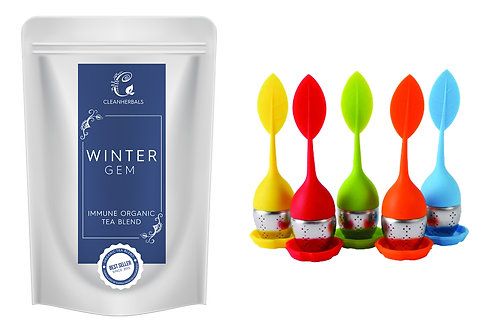 Winter Gem Immune Organic Tea Blend (50g) with Infuser of your choice