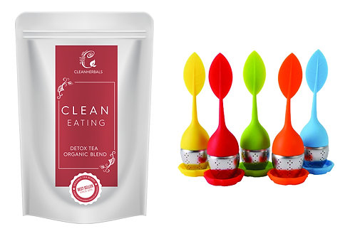 Clean Eating Detox tea Organic Blend (250g) with Infuser of your choice