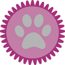 Gray Paw Print in Purple Stamp