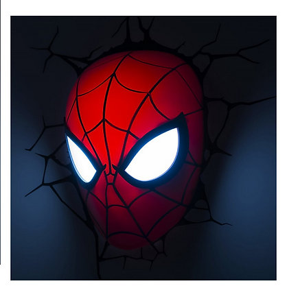 marvel comics 3d spider man mask wall light