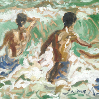In the waves we play 38x30cm Oil on board Mexico 2015