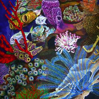 Participative Mural Acrylic decoration Xcaret Aquarium Mexico 2002