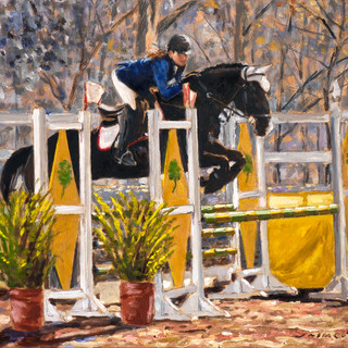 Black Horse & young rider Oil on canvas 37x28cm Mexico 2014