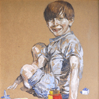 Oil portrait on board of a young boy with cheeky eyes 63x50cm Mexico 2002