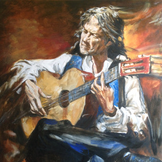 Flamenco player with guitar Oil on canvas Mexico 20014