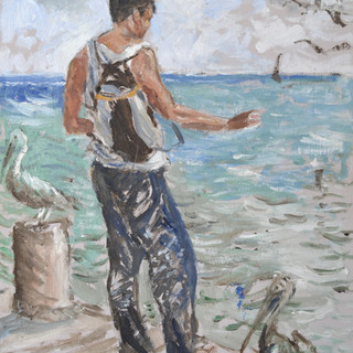 A fisherman 30x38cm Oil on board Mexico 2014