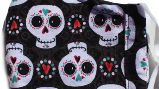 Sugar Skulls Adult Fitted 3-layer Mask with Adjustable Ear Loo