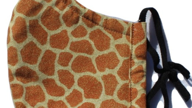 Giraffe Print Adult Fitted 3-layer Mask with Adjustable Ear Loops