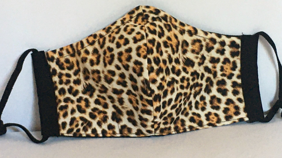 Adult Fitted 3-layer Leopard Print Mask with Adjustable Soft Elastic Ear Loops