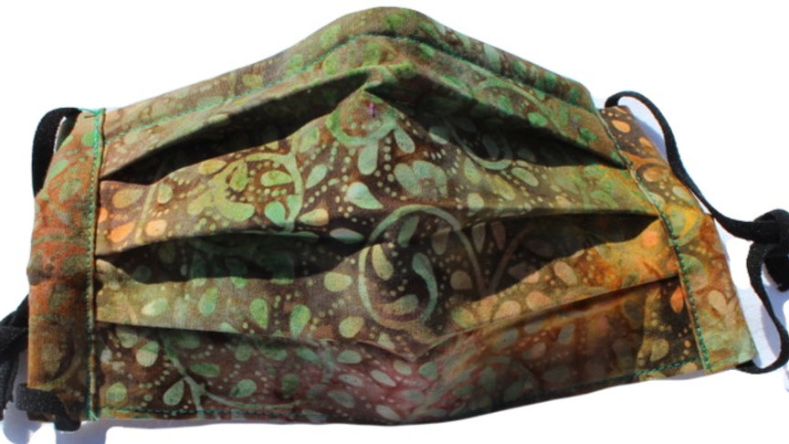 Adult Batik 3-layer Pleated Mask with Adjustable Ear Loops