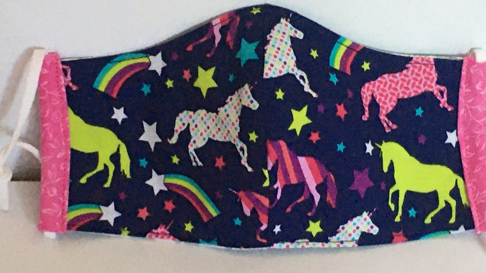 Child (3-6yr) Unicorn 3-layer Fitted Mask with Adjustable Ear Loops