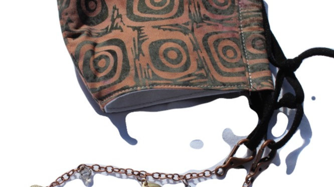 Adult Hand Beaded Removable Lanyard and 3-layer Batik Fitted Mask