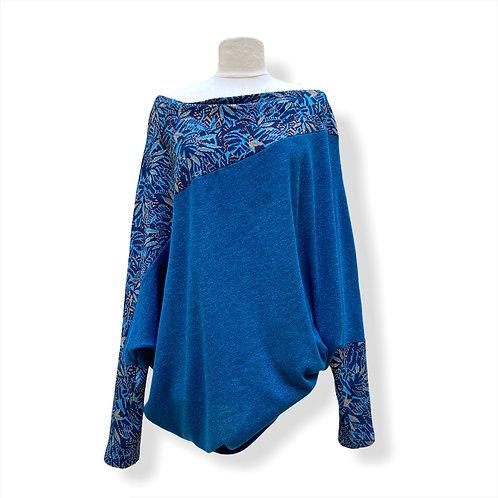 Pull Asymétrique Oversize Turquoise