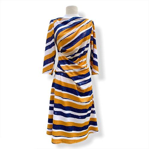 Robe Drapée Rayée