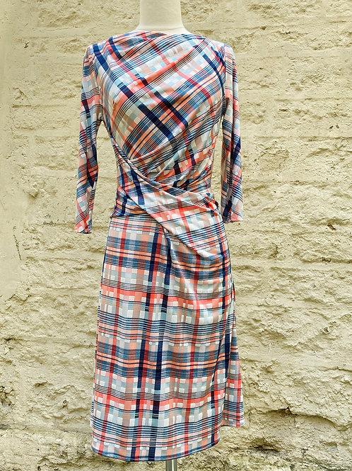 Robe Drapée Rayée rose et bleu