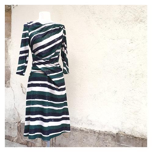 Robe Drapée rayée verte