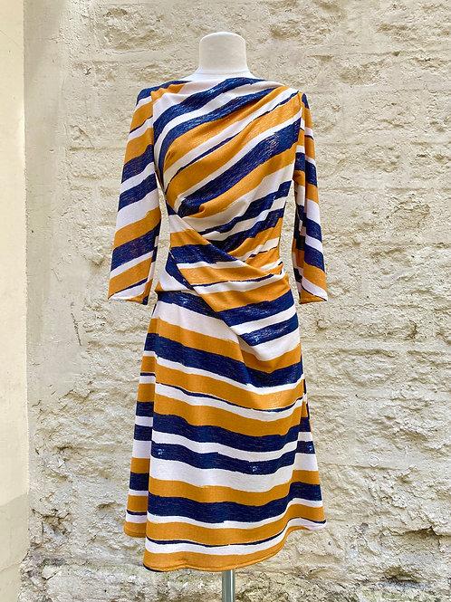 Robe drapée jaune bleu et blanc