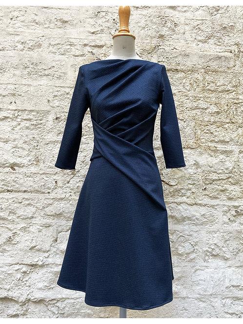 Robe Drapée - Bleu rayée blanc