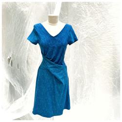 Robe Drapée feuillage bleu