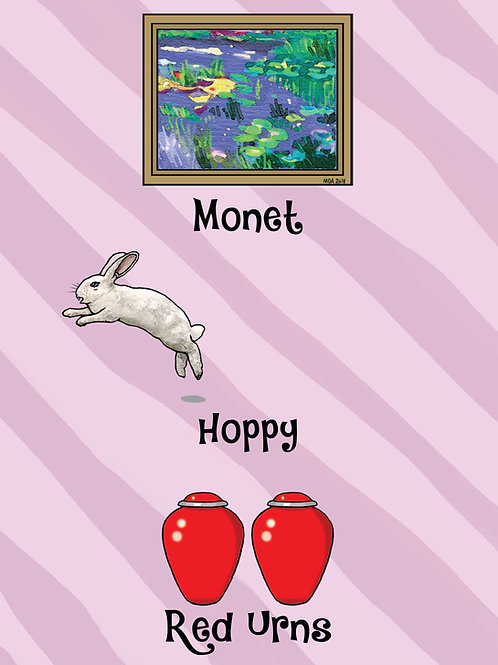 'Monet Hoppy Red Urns' Birthday card