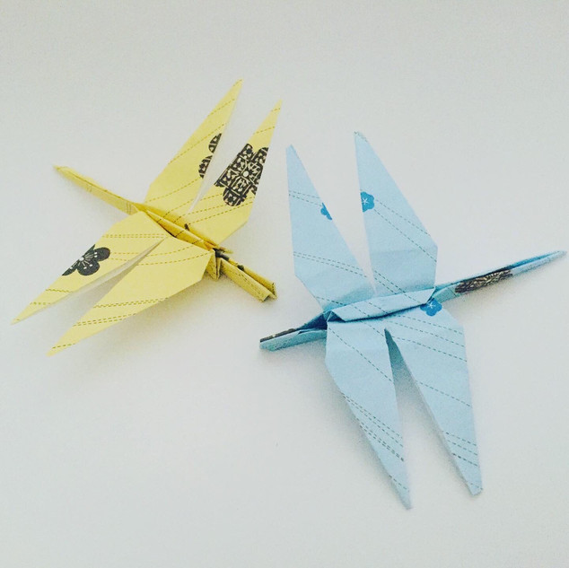 A pair of dragonflies. There was a lot of folding involved in making these little fellas.