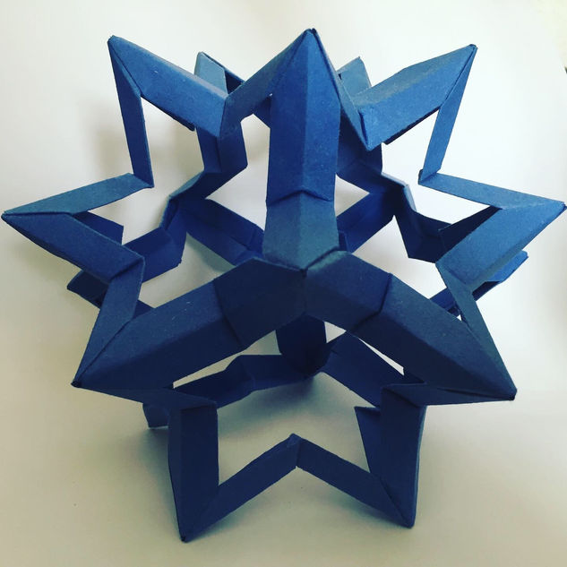 Star dodecahedron. This was the second one I made. The first ended up way too big to support itself, and it's still flopping around Crafting Corner somewhere.