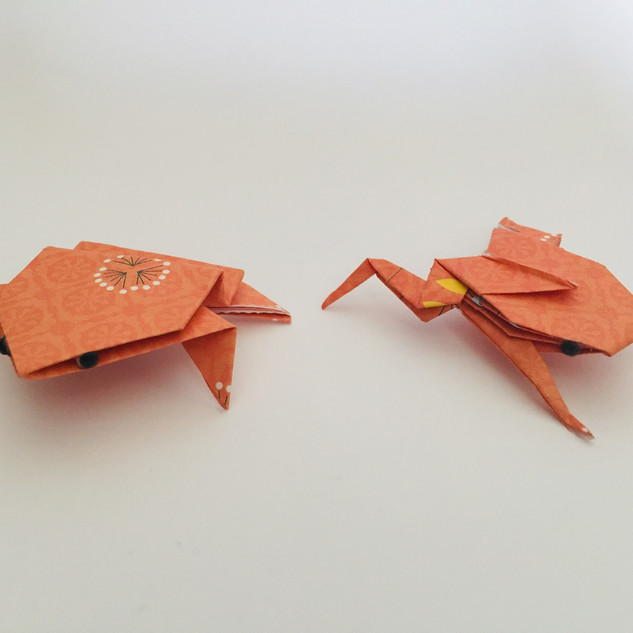 Two frogs. Made using 2 totally different methods. The frog on the right was particularly difficult to make.