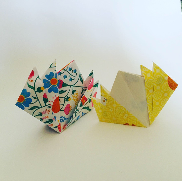 Lotus flower bookmarks. Harder than they might look, as you have to turn the paper inside out, which I found tricky.